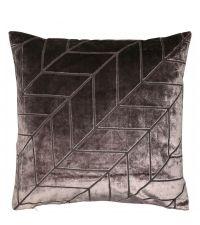 braune Kissenhülle aus glänzendem Samt mit Muster im Blätter-Stil