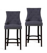 2er-Set Barstühle aus dunkelgrauem Stoffbezug mit Knopfheftung, Nietendetails und schwarzen Füßen