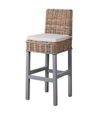 Barhocker aus Rattan mit grauen Holzfüßen & naturfarbenem Sitzkissen aus Leinen