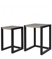 2er-Set-Beistelltische im Retro-Style Tischplatte aus Eichenholz Füße schwarz