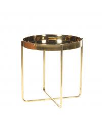 zarter runder Beistelltisch aus Metall gold