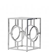 moderner Beistelltisch mit aus Chrom mit Lochmuster & Glasplatte