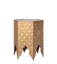 sechseckiger orientalischer Beistelltisch mit Trellis-Muster gold
