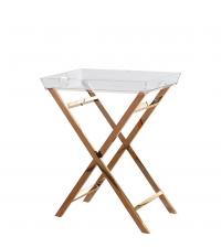 moderner Beistelltisch Tabletttisch aus klarem Acrylglas mit gekreuzten Füßen, kupfer