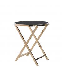großer runder Beistelltisch mit goldenem Metallfuß Tischplatte schwarz