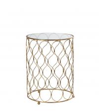 goldener Beistelltisch mit zartem Trellis-Muster und Glasplatte