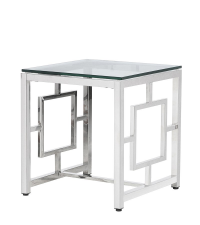 edler Beistelltisch mit glänzenden Metallbeinen und Tischplatte aus Glas