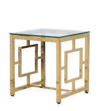 edler Beistelltisch mit goldenen Metallbeinen und Tischplatte aus Glas