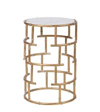 auffälliger, runder Beistelltisch mit weißer Marmorplatte und goldenen Füßen in Bambus-Optik