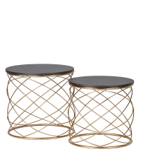 2er-Set aus Beistelltischen mit goldenen Ringen und schwarzer Tischplatte