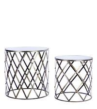 zwei runde Beistelltische aus Metall mit Spiegelplatte