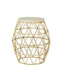 Beistelltisch mit goldenem, geometrischem Fuß und Steinplatte in weiß