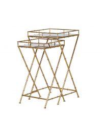 2er Set Beistelltisch mit goldenen Füßen in Bambus-Optik