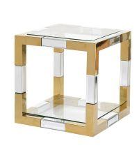 kleiner, verchromter, würfelförmiger Beistelltisch in gold und silber mit glasflächen auf der deck- und grundfläche