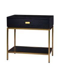 edler Nachttisch aus dunklem Holz mit Messingrahmen
