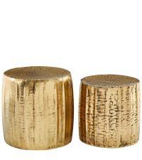 2 runde Beistelltisch, 2er-Set Hocker mit strukturierter Oberfläche, bronze
