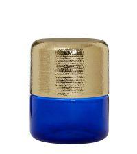 Beistelltisch in Zylinder-Form aus blauem Glas und goldenem, unebenem Metall