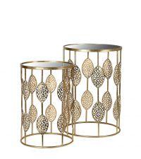 2er-Set Beistelltische aus goldenem Metallrahmen mit Blätter-Verzierung und verspiegelter Ablagefläche