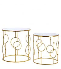 2er-Set Beistelltische aus goldenem Metallrahmen mit Verzierungen und Spiegel-Ablagefläche