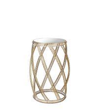 runder Beistelltisch mit geschwungenem, goldenen Rahmen & Spiegelfläche