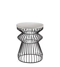 Beistelltisch mit abstraktem Eisenfuß & weißer Tischplatte
