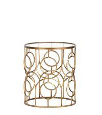 goldener Beistelltisch mit Ringmuster in Antik-Optik & Glasfläche