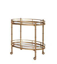 Speisewagen aus goldenem Metall in Antik-Optik mit 2 Ebenen aus Spiegelglas