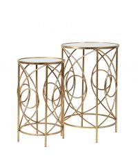 2er-Set goldene Beistelltische aus Metall & Spiegelglas