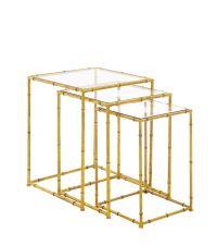 3er-Set goldene Beistelltische in Bambus-Optik, gold