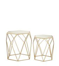 zwei sechseckige Beistelltische mit goldenen Metallrahmen & Spiegelplatten