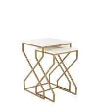 2er-Set Beistelltische mit weißen Tischplatten aus Marmor & gekreuzten Füßen