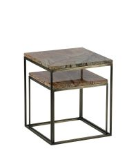 2er Set quadratische Beistelltische aus Marmor, braun & antikgold