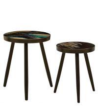 2er-Set runde Beistelltische mit marmorierten Tischplatten in blau & schwarz