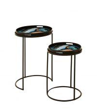 2 runde Tablett-Tische mit Marmorierung in blau, schwarz & braun