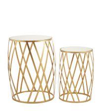 zwei runde Beistelltische mit Spiegelfläche, Rahmen mit Rautenmuster, gold