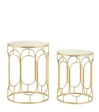 2er Set elegante Beistelltische in gold mit Spiegelfläche & geometrischem Rahmen