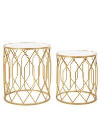 zwei runde Beistelltische in gold mit Spiegelfläche & geometrisch geformtem Rahmen