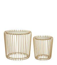 zwei runde Beistelltische mit zarten goldenen Metallstreben & Spiegelplatte