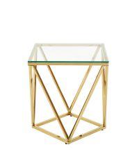 Beistelltisch mit geometrisch geformtem Metallrahmen & Glasplatte, gold