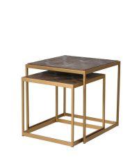 2er-Set Beistelltische aus gebürstetem Ulmenholz mit geometrischem Muster und zartem kupferfarbnem Metallrahmen