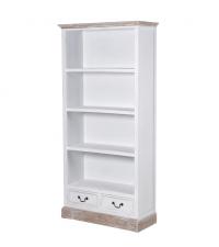 Bücherregal Shabby-Style im Landhausstil mit 4 Fächern und 2 Laden weiß