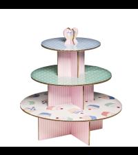 Cupcake Ständer aus Pappe Etagere in blau grün und rosa
