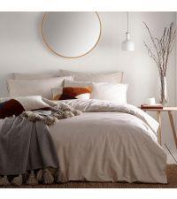 beige meliertes Bettwäsche-Set aus Baumwolle