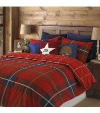 Bettwäsche mit großem Karomuster in rot