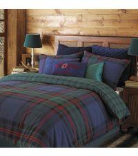 Bettwäsche mit großem Karomuster in dunkelblau & grün