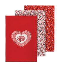 3er-Set rote Geschirrtücher mit floraler Musterung, Blumen, Herz
