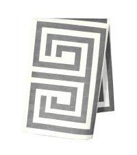 rechteckiges Baumwoll-Geschirrtuch mit geometrischem Muster in grau/weiß