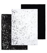 3er Set Geschirrtücher aus Baumwolle mit moderner Musterung in schwarz & weiß