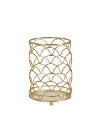 Behälter aus zartem, geometrisch geformten Eisendraht, gold