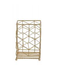 Behälter für Küchenutensilien aus geometrisch geformtem Eisendraht, gold